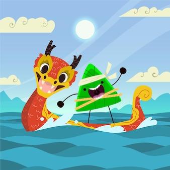 Cartoon dragon boat family preparing and eating zongzi illustration
