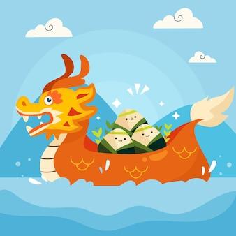 Иллюстрация мультфильм лодка дракона