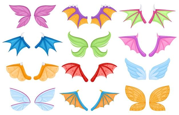 Мультфильм дракон хвост феи дракон фея птицы существа крылья. набор векторных иллюстраций крыла волшебных легенд животных или существ. крылья фантастических персонажей