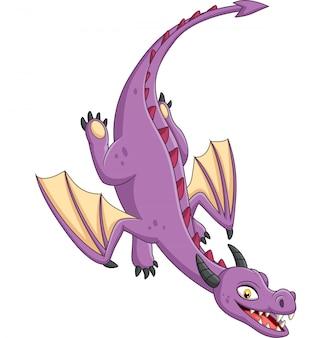 Cartoon dragon flying on white background