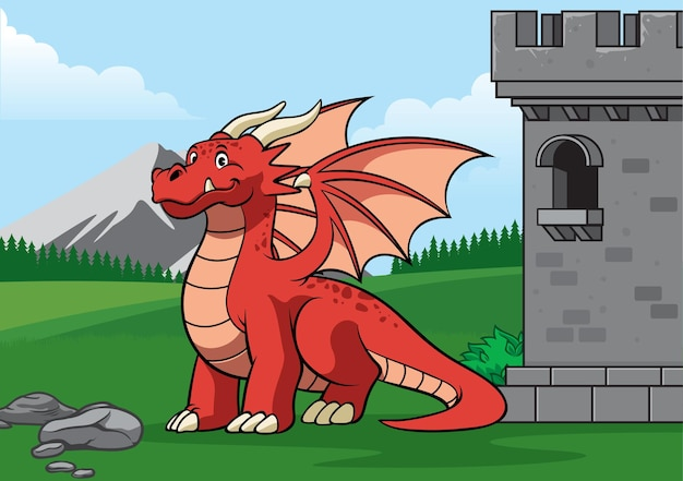 Cartoon dragon in front of the castle