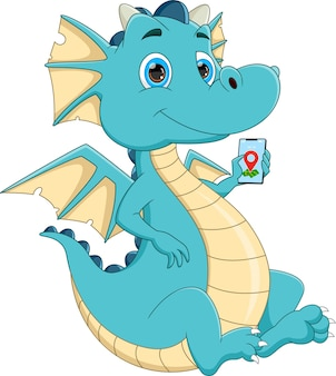 Мультфильм дракон держит смартфон на белом фоне