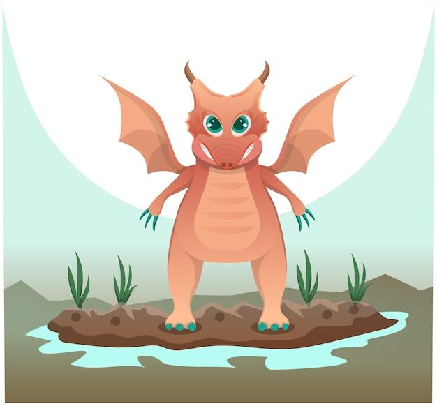 Мультяшный дракон над озером
