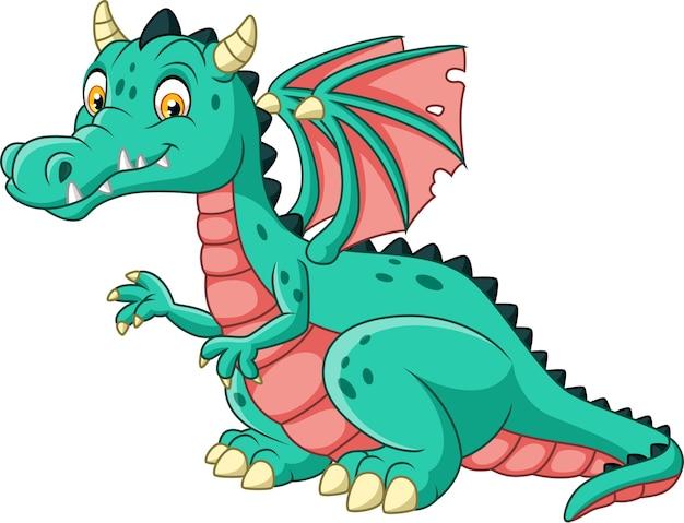Cartoon dragon isolated on white background