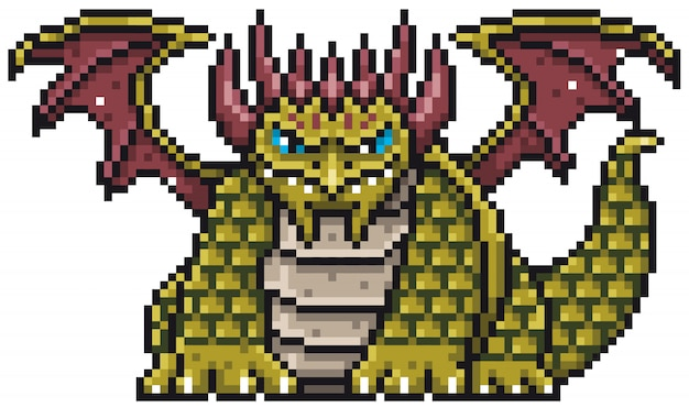 Cartoon dragon pixel design