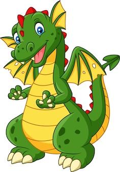 Cartoon dragon posing isolated on white background