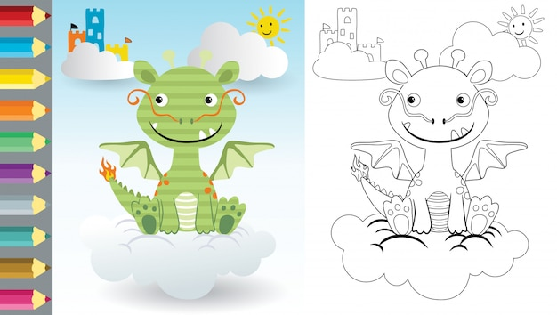 Cartoon of dragon sitting on cloud, coloring book or page