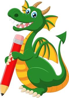 Cartoon dragon with pencil