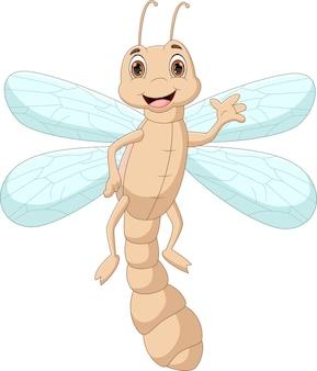 Cartoon dragonfly waving isolated on white background