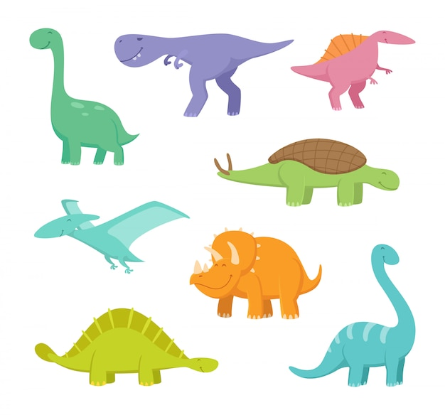 Cartoon dragons and dinosaurs