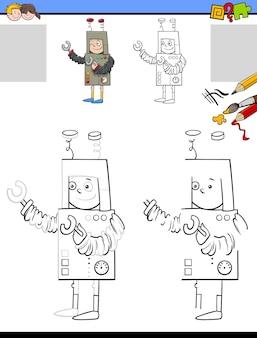 로봇 의상을 입은 소년을 위한 만화 그리기 및 색칠 활동