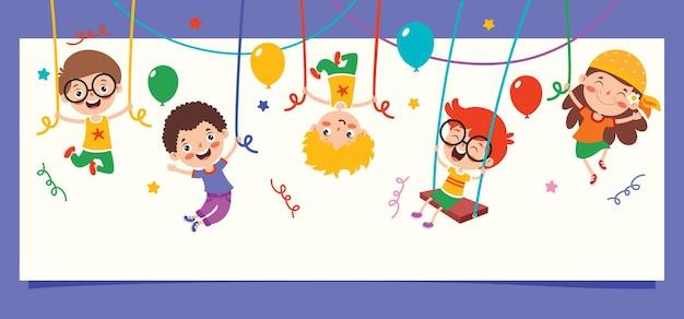Cartoon drawing of happy character swinging