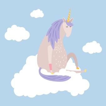 Cartoon dreaming unicorn flies on cloud  illustration
