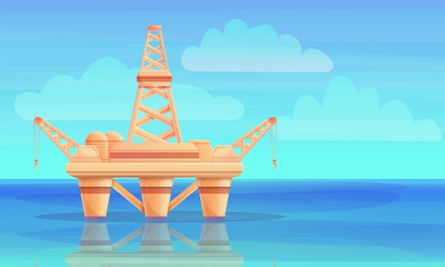 Cartoon drilling rig in the ocean, vector illustration