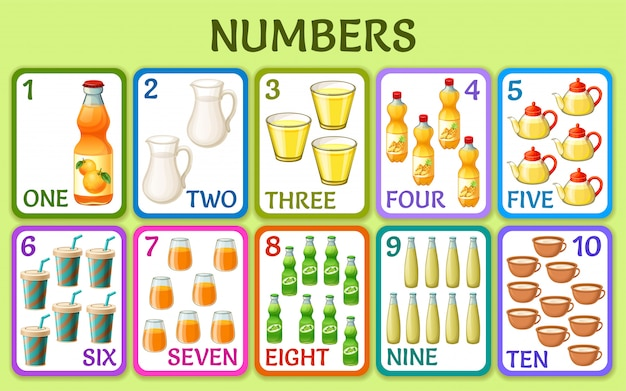Cartoon drink. children cards numbers.