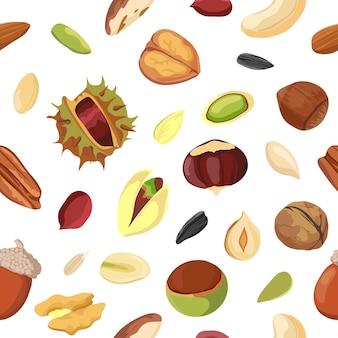 만화 건조 너트와 씨앗 믹스 완벽 한 패턴입니다. 땅콩, 호두, 헤이즐넛, 피칸 및 피스타치오로 인쇄하십시오. 유기농 비건 스낵 벡터 텍스처