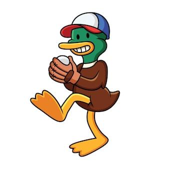 Cartoon duck playing baseball