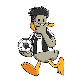 サッカーをしている漫画のアヒル