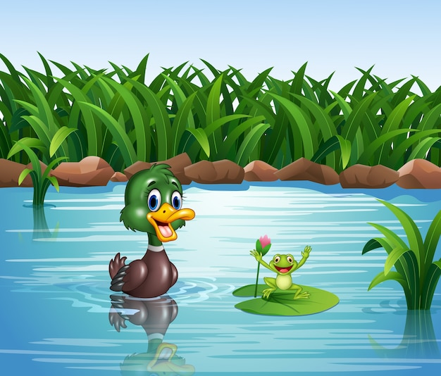 Cartoon duck with happy frog