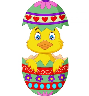 Cartoon duckling come out from an easter egg