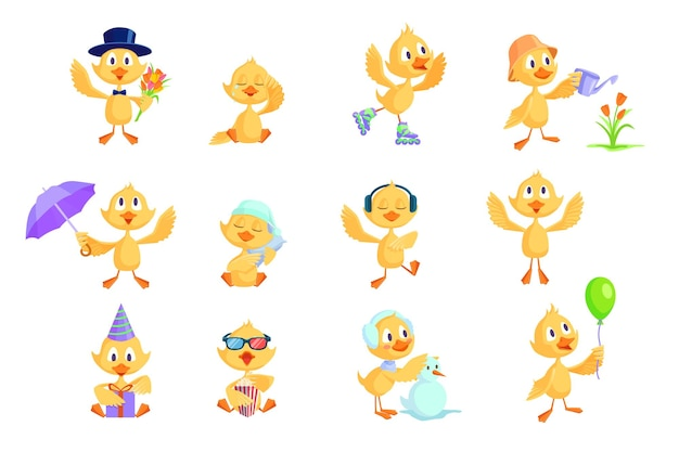 Cartoon duckling set.