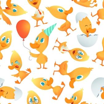 Мультфильм шаблон уток. бесшовный фон с мультяшными смешными птичками