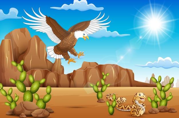 砂漠に住む漫画のイーグル鳥とヘビ