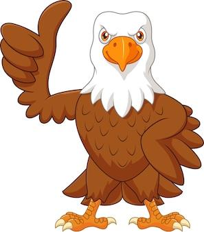 Cartoon eagle giving thumb up