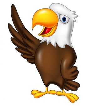 Cartoon eagle waving