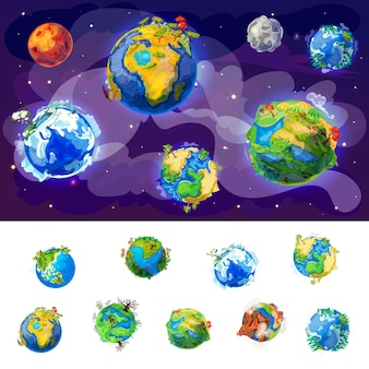 Cartoon earth globes concept