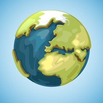 Cartoon earth planet globe