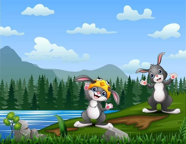 川沿いの漫画イースターのウサギ