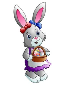 Мультфильм пасхальный кролик с корзиной с яйцами