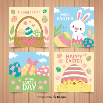 Cartoon easter card pack