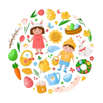 Cartoon easter day, kids boy girl in costumes, easter eggs, spring flowers, rabbit, chiken, willow branch, floral wreath