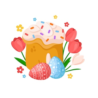 Cartoon easter day - sweet easter cake, spring flowers tulip, narcissus, daffodil, eggs, floral holiday bouquet