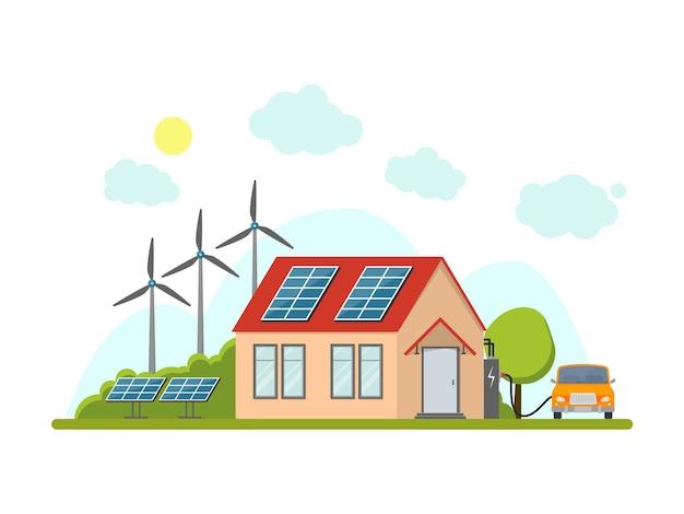 ネイチャーフラットデザインスタイルの漫画エコエネルギーホームエクステリアファサード再生可能資源。ベクトルイラスト