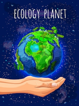 Cartoon eco planet poster