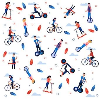 Cartoon ecological transport flat seamless pattern