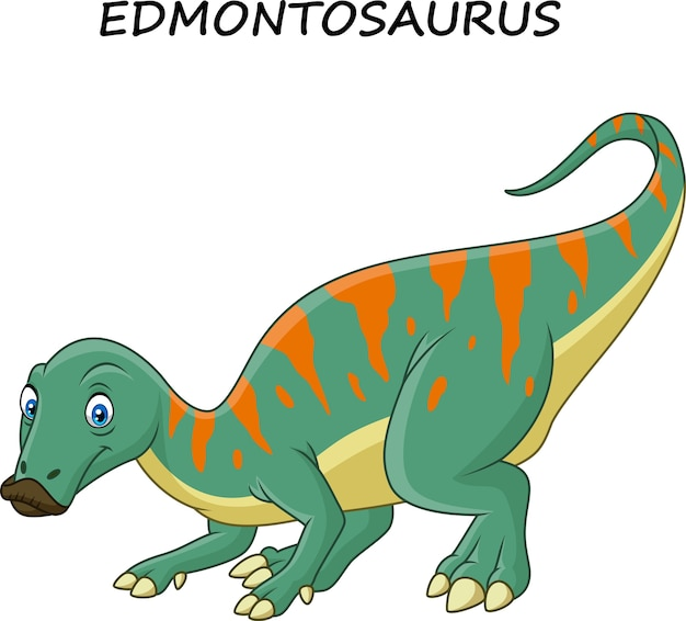 Cartoon edmontosaurus isolated on white background