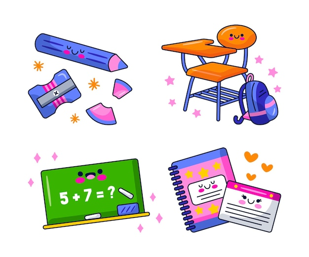 Набор мультяшных образовательных наклеек