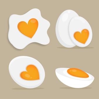 다양 한 형태의 만화 계란 튀긴 삶은 반 계란의 집합 벡터 일러스트 레이 션