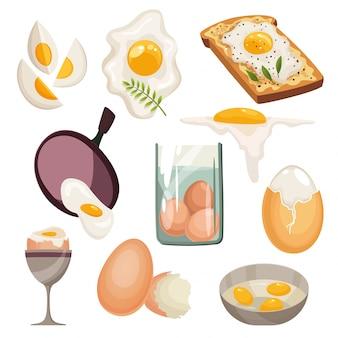 白い背景で隔離の漫画の卵。フライパンで揚げ、ゆで、ひびの入った卵の殻、スライスした卵、鶏の卵のセット。さまざまな形の卵の収集