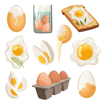 白い背景で隔離の漫画の卵。揚げ、ゆで、ひびの入った卵の殻、スライスした卵、鶏の卵のボックスのセット。ベクトルイラスト
