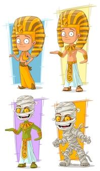 漫画エジプトのファラオとミイラのキャラクターセット