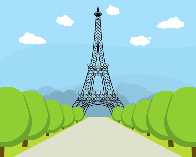 Cartoon eiffel tower famous landmark of paris symbol france travel flat style design. vector illustration