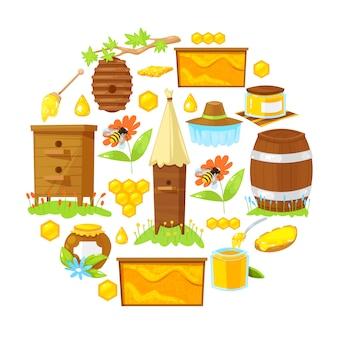Cartoon elements of beekeeping