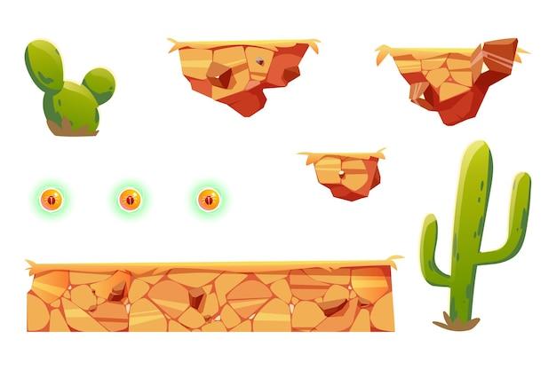 아케이드 게임 플랫폼 용 만화 요소, 컴퓨터 또는 모바일 용 2d ui 디자인 사막 풍경 요소.