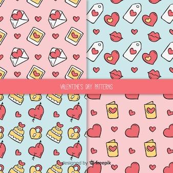 Cartoon elements valentine pattern pack