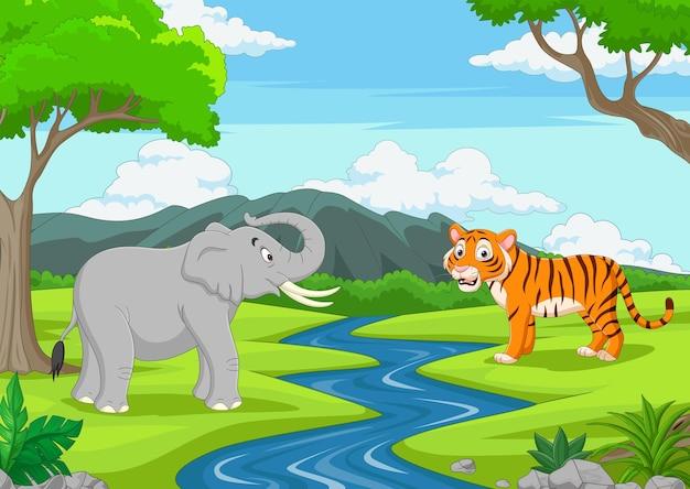 Мультфильм слон и тигр в джунглях